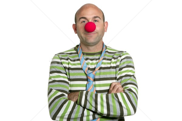 Actor clown posing clown nose and tie Stock photo © lunamarina