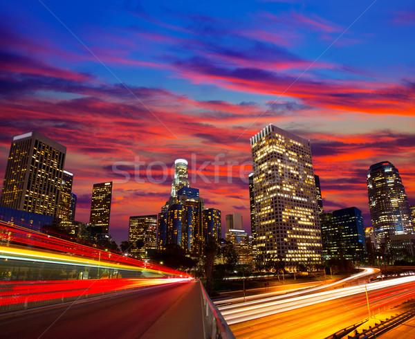 Centro da cidade la noite Los Angeles pôr do sol linha do horizonte Foto stock © lunamarina