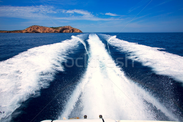 Ibiza Sa Conillera island from boat wake San Antonio Stock photo © lunamarina