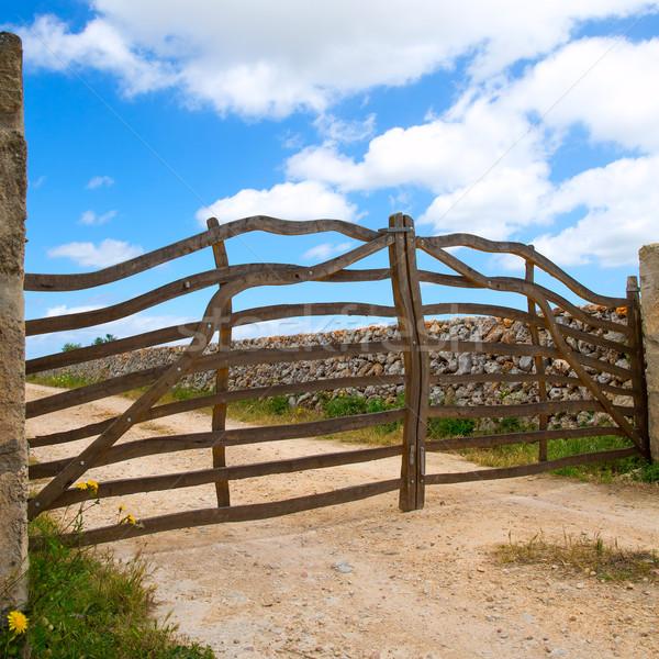 Menorca traditional wooden fence in Balearic islands Stock photo © lunamarina