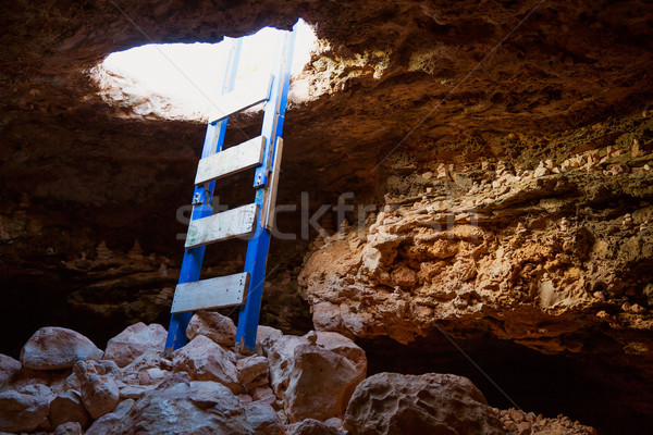 Cave hole entrance with ladder in Barbaria Cape Stock photo © lunamarina