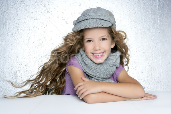 Tél sapka gyapjú sál divat lány Stock fotó © lunamarina