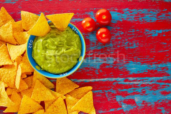 Mexican food nachos and guacamole Stock photo © lunamarina