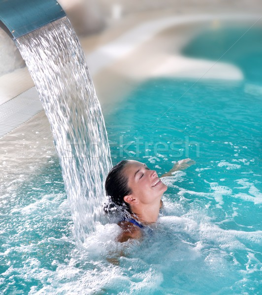 spa hydrotherapy woman waterfall jet Stock photo © lunamarina