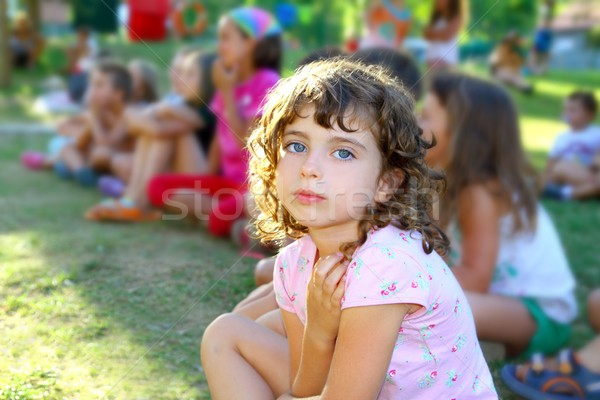 girl spectator little children looking show outdoor park Stock photo © lunamarina