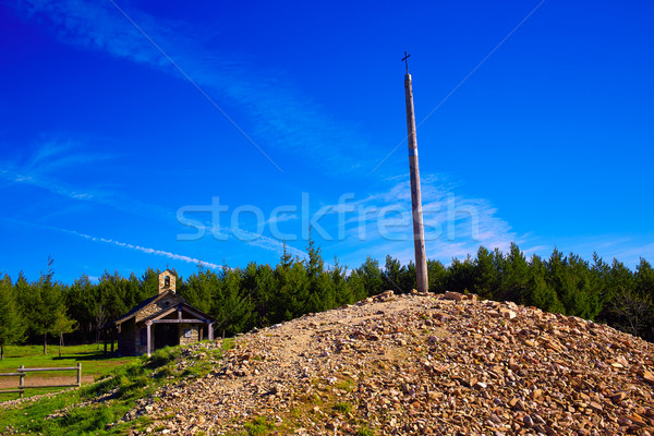 Cruz de Ferro top at Saint James Way Leon Stock photo © lunamarina