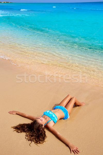 Stock photo: Girl on the beach Fuerteventura at Canary Islands