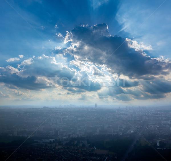 Paryż widok z lotu ptaka mglisty dzień Wieża Eiffla budynku Zdjęcia stock © lunamarina