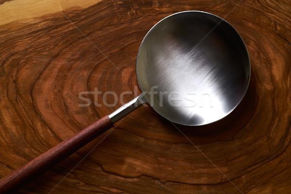 Moderne roestvrij staal lepel spatel hout houten Stockfoto © lunamarina