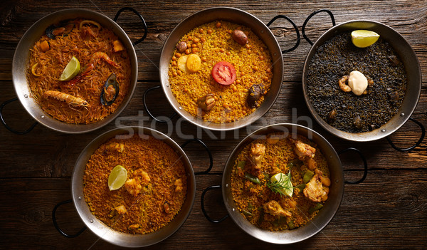 Vijf rijst recepten houten tafel hout kip Stockfoto © lunamarina
