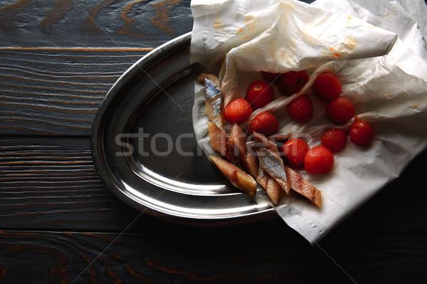 Bota sardine with osmotized tomatoes Stock photo © lunamarina