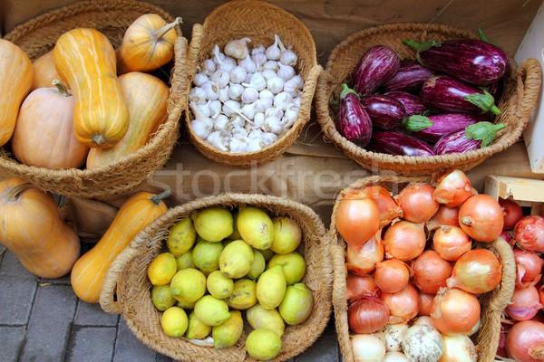 fruits and vegetables market garlic onion lemon eggplant Stock photo © lunamarina