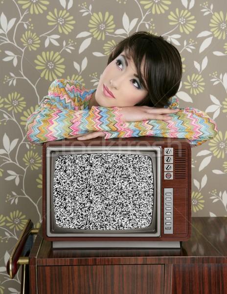 Retro pensativo mujer vintage tv Foto stock © lunamarina