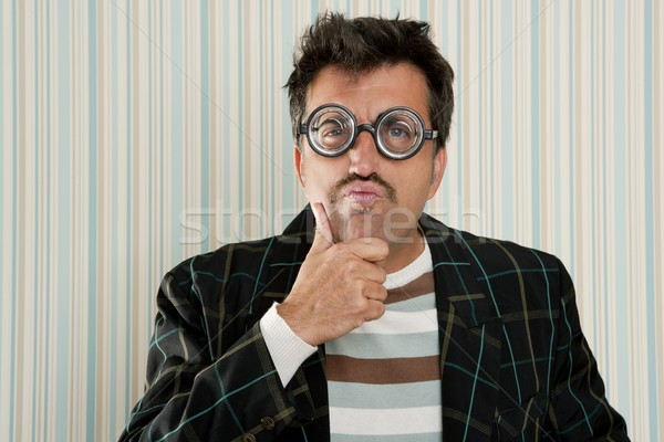 crazy nerd man myopic thinking funny gesture Stock photo © lunamarina