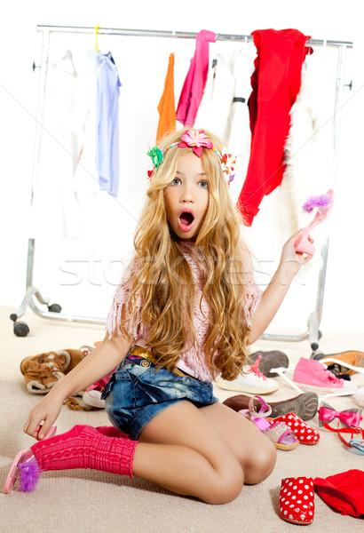 Stock photo: fashion victim kid girl wardrobe messy backstage