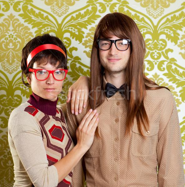 смешные юмор NERD пару глупый Сток-фото © lunamarina