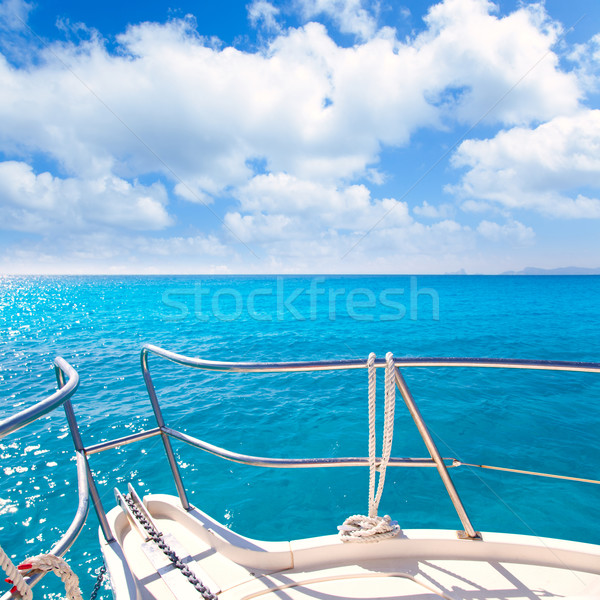 Anchor boat y tropical idyllic tropical turquoise beach Stock photo © lunamarina