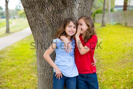 friends sister girls together in grass garden track Stock photo © lunamarina