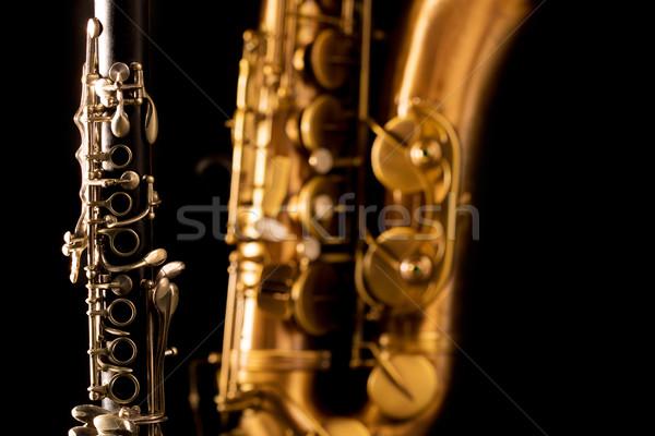 Classic music Sax tenor saxophone and clarinet in black Stock photo © lunamarina