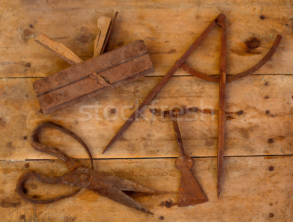 Aged tools wood planer wool scissors drawing compass Stock photo © lunamarina