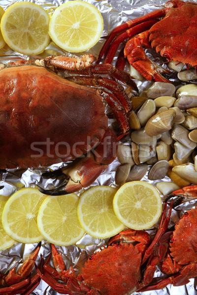 Crabs tellin clams and lemon seafood Stock photo © lunamarina