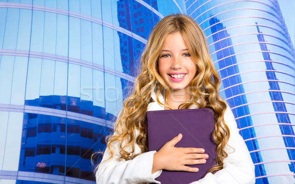 Children business student girl with tablet pc on urban buidings Stock photo © lunamarina