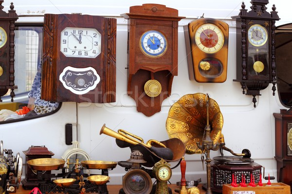 antiques fair market wall old clocks Stock photo © lunamarina