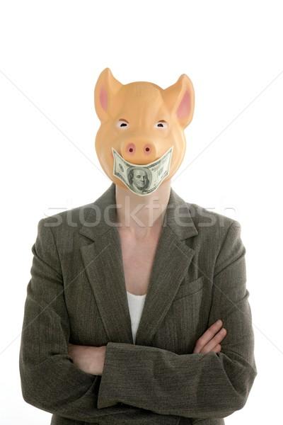 Nő sertés arc dollár jegyzet maszk Stock fotó © lunamarina