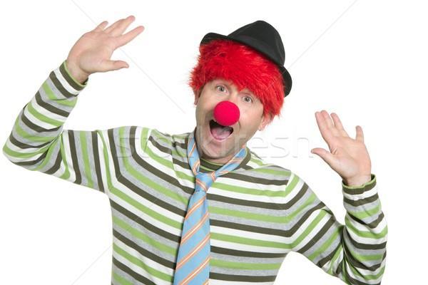 Clown parrucca felice divertente gesto Foto d'archivio © lunamarina