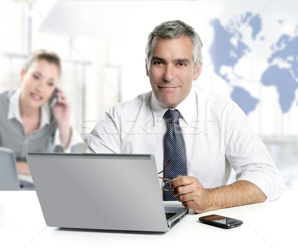Stock photo: businessman senior expertise teamwork world map