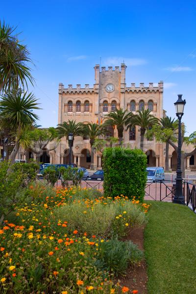 Ciutadella Menorca city Town Hall and gardens Stock photo © lunamarina