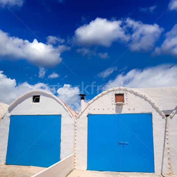 Blanco mediterráneo casa de playa playa casa puerta Foto stock © lunamarina