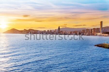 Benidorm skyline Levante beach in blue Mediterranean sea Stock photo © lunamarina