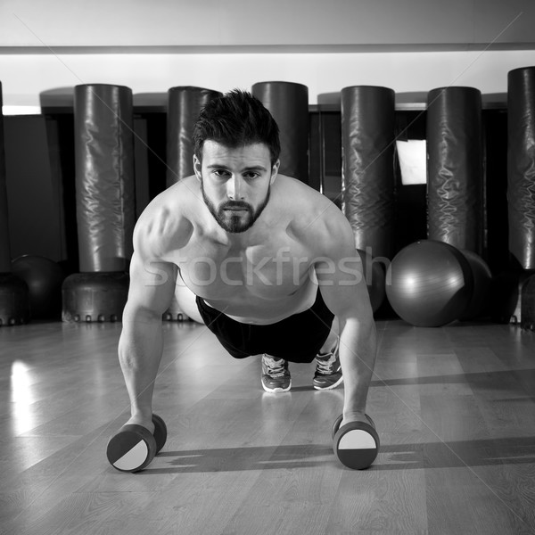 гантели человека фитнес спортзал борода Сток-фото © lunamarina