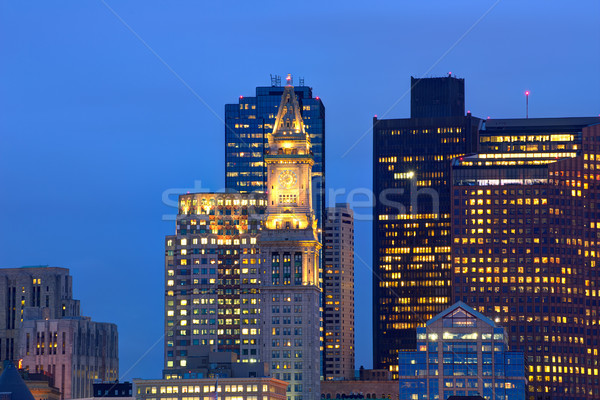 Boston skyline at sunset custom tower clock tower Stock photo © lunamarina