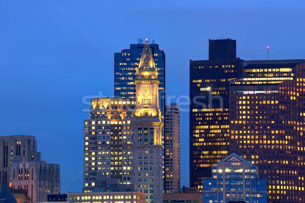 Boston skyline tramonto torre clock Foto d'archivio © lunamarina