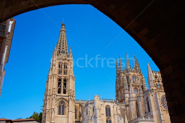 Burgos Cathedral facade in Saint James Way Stock photo © lunamarina