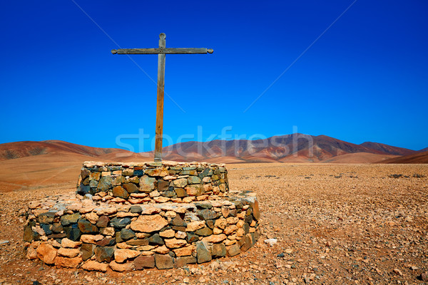 Tuineje cross in Fuerteventura at Canary Islands Stock photo © lunamarina