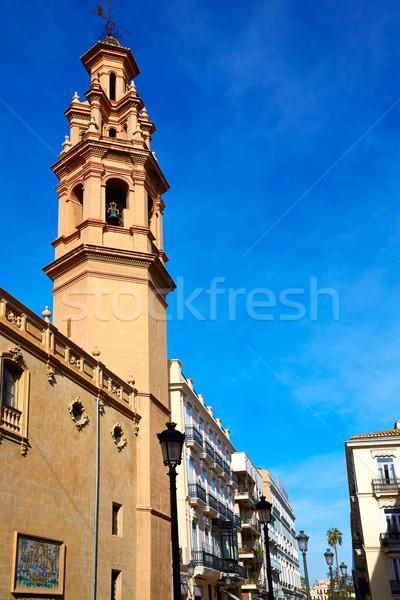 Valencia Navellos street and Sant Llorenc church Stock photo © lunamarina