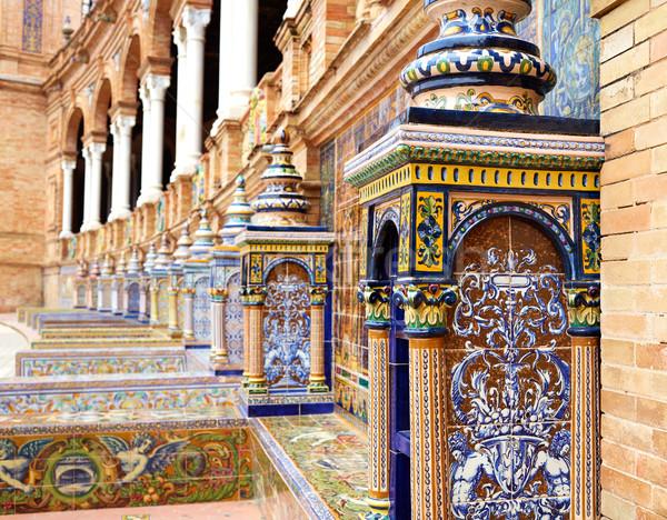 Foto stock: Espanha · banco · praça · edifício · viajar · arquitetura