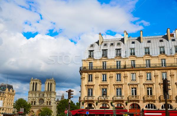 Paris Place de Saint Michel with Notre Dame Stock photo © lunamarina