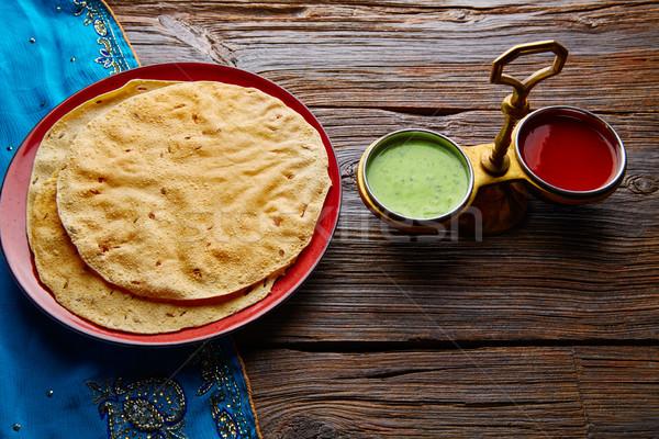 Vermelho verde comida indiana textura laranja restaurante Foto stock © lunamarina