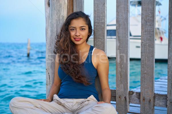 Mexican latin woman at Caribbean sea Stock photo © lunamarina