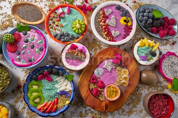Kom smoothie bessen zaden vruchten Stockfoto © lunamarina