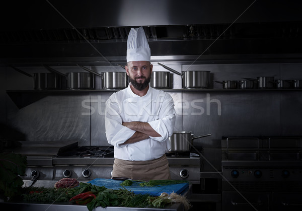 Szakács portré szakáll étterem konyha munka Stock fotó © lunamarina