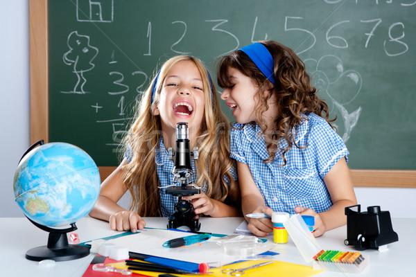 Stok fotoğraf: Mutlu · gülme · çocuklar · öğrenci · kızlar · okul