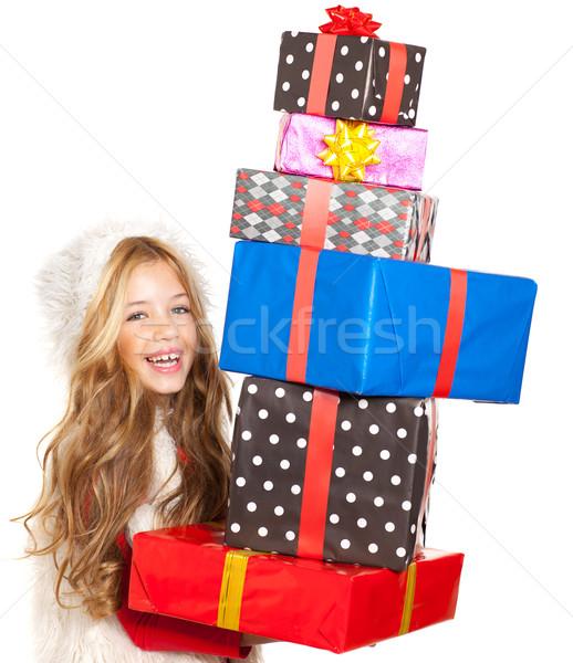 Stockfoto: Kid · meisje · christmas · aanwezig · geschenken