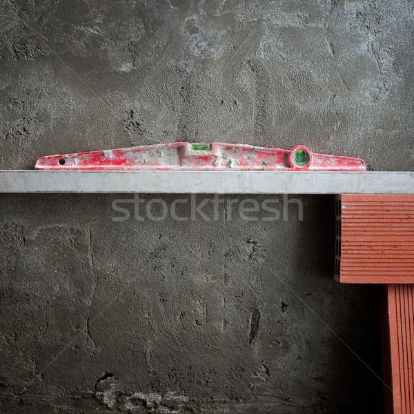 Photo stock: Bulle · esprit · niveau · outil · rouge · ciment