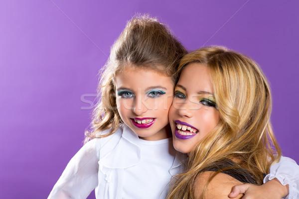 two friends fashiondoll kid girls with fashion purple makeup Stock photo © lunamarina