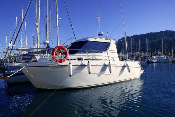 Lancha azul mediterrânico marina esportes pescaria Foto stock © lunamarina